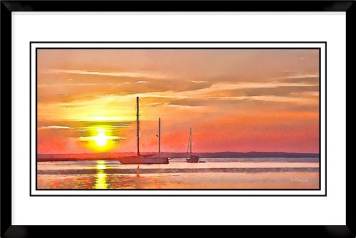 1x2-picture-frame-black-with-Harbor-Sunset
