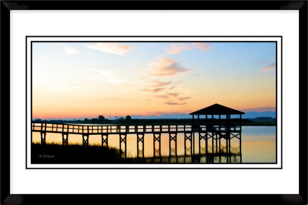 1x2-picture-frame-black-with-Waterway-Sunrise