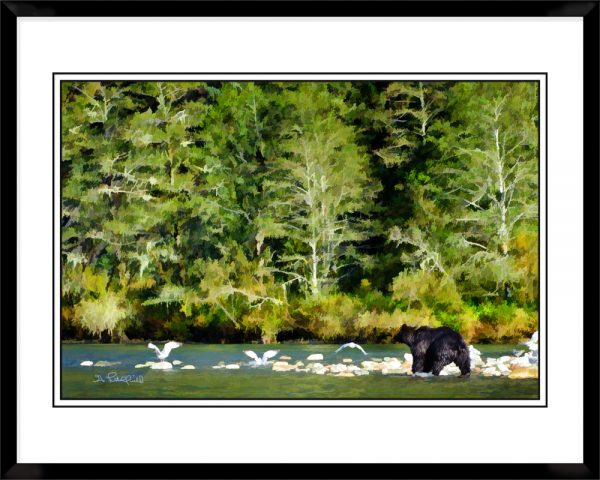 2x3-picture-frame-black-with-Grizzly-And-Gulls